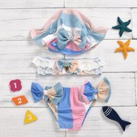 One-Pieces Toddler Baby Girls Kids Bikini Set Infant Summer Bowknot Top + Printed Pants Hat Swimsuit 3pc Suit Childern Clothes