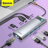Baseus USB C HUB Тип мульти 3.0 3 0 для MacBook Pro Поверхность воздуха 7 Ethernet Network - Splitter Adapter 210615