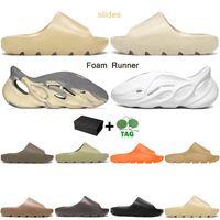 2021 slippers men women slides Bone Earth Brown Desert Sand Foam Runner triple white black outdoor sandals with box