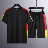 Men's Tracksuits Mens Short Sleeve T-shirts And Shorts Wrinkle Breathable Sweatsuits Male Summer 2 Piece Clothes Casual Streetwear A50