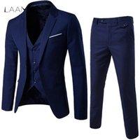 Laamei Mens Suit 3PC (куртка жилет брюк) мужское деловое платье Slim Fit Тонкий весенний сплошной случайные офисные азиатские XL = US XXS Q190330