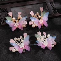 Hair Clips & Barrettes 2pcs Butterfly Pearl Hairpin Chinese Style Cute Vintage Headdress Hanfu Clothing Accessories For Little Girls LB