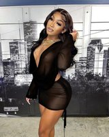 Women's Tracksuits Sexy Club Party See Through Shirt Dress For Women Long Sleeve Mini Female Autumn Bodycon Ruched Dresses Streetwear