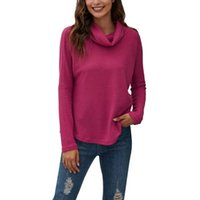 Women's Hoodies & Sweatshirts Pullover Pile Collar Knitted Sweatshirt Solid Color Long Sleeve Comfortable Autumn Top
