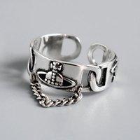 Посеребренные модные кольца мода творческий цепь кисточка планета винтажного панка открытое кольцо партии ювелирные изделия подарки для женщин-девочки кластер