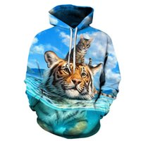 hoodie Fall men's 3D printing swimming tiger Kitty sweater fashion couple's wear 4ZZH