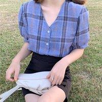 Sommer Frische Stil Frauen Bluse Hemd Mode V-Ausschnitt Button Up Plaid Print Tops Blusen Blusas Weibliche Lässige Kurzarm Hemden