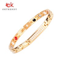 Charm Bracelets Oktrendy Wholesale Fashion Magnetic Titanium Bracelet In Gold Color Women Copper Health Wristband With Hematite