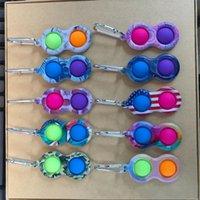 TIKTOK Toys Push Simple Sleutelhanger Ua Flag Camo Marble Gedrukt Bubble Poppers Fidget Poo-zijn speelgoed Tik Tok Sleutelhanger Vingertop Stress Relief Reliver Hangers H31PUXD