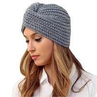 Beanie Skull Caps Women's Knitted Turban Hats Bohemia Cashmere Cross Wrap Head Hat Wool Knitting Bonnet Turbante Cap Ready To