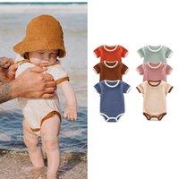 INS Korean Australia Baby Toddler Jumpsuits Rompers Summer Short Sleeve Plain Knitted Cotton Newborn Bodysuits Onesies