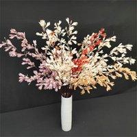 """Flores decorativas grinaldas 7 pcs orquídeas de haste longa (3 cabeças / pedaço) 38.19 """"Flor de firefly de simulação de comprimento para casamento home artificial"""