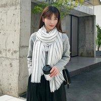 Scarves 2021 Cotton Linen Scarf Women Spring Hijab Stripe Printing Solid Color Neck Fashion Tassel Design Muffler 180X90cm