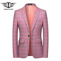 Plyesxale marca rosa luz bege azul xadrez blazer homens 6xl casual homens blazers traje mome mariage jaquetas de terno formal Q800 ternos masculinos