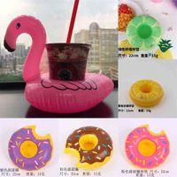 Şişme Flamingo İçecekler Fincan Tutucu Yüzme Havuzu Küvet Karikatür Yüzer Kayan Coaster Oyuncaklar Donuts Meyve Balon Su Topu Dondurma Kupa Tutucular G71AN1J