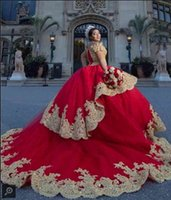 Red Gold Applique Vestidos De 15 Anos Quinceanera Dresses 2020 Cold Shoulder Crystal Beaded Lace Layers Princess Ball Gowns Prom Sweet 16