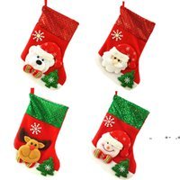 Christmas Stocking Sequin Socks Gifts Sacks Candy Bags Cartoon Stockings Christmas Tree Decor Santa Claus Snowman Deer Bear FWB10180