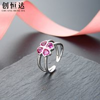 Korean Fashion Sweet Temperament Clover Ring Lady S925 Silver Opening Adjustable Flower Index Finger 95Q9
