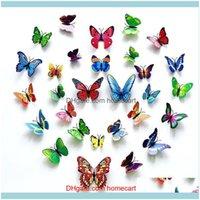 Kühlschrankmagnete Decor Garden2021 Aufkleber Simulierte Schmetterlinge 3D Schmetterling Doppelflügel Wanddekor Kunstaufkleber Home Decoration Drop Lieferung