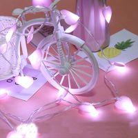 Estilo coreano LED String Fairy Girl Lights Heart Love Forma Bateria e USB Recarregável Lâmpada Powered 1.5 3 6 10m luz do feriado para o casamento Decoração interior de Natal