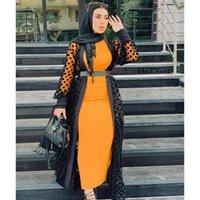 Mesh Polka Dot Printed Perspective Long Cardigan Abaya Women Dress Kaftan Ramadan EID Robe Islamic Judaic Dubai Moroccan Gown Ethnic Clothin