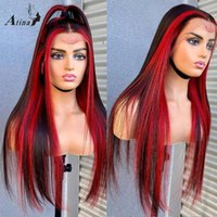 Lace Wigs HD Transparent Remy Preplucked Human Hair Ombre Highlight 99j Red Burgundy Colored Straight Frontal Wig 250 Density Closure