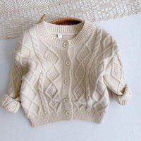 Pullover Children Clothing Kids Solid Color Knit Cardigan Jacket Tops 9M-4T Autumn Winter Baby Boys Girls Sweaters Coat