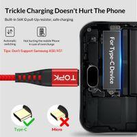 Snabb DHL Ship Topk New An42 3A Snabbavgift 3.0 USB Typ C Kabel för Xiaom RedMi Not 7 Snabb Laddning Typ-C Kabel för Samsung S9 S10 PLUS USB C FY7419
