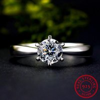 Cluster Rings Classic Female Small Round Lab Diamond Ring Real 925 Sterling Silver Engagement Promise Solitaire Wedding For Women