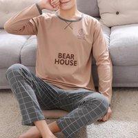 Men's Sleepwear Cotton Long Sleeve Pajamas Set For Men Cute Green Cartoon Male Autumn Warm Casual Home Clothes Lattice Pants Pijamas