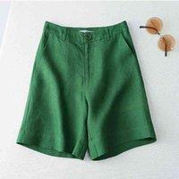 Yaz Tarzı Kore Casual Geniş Bacak Pantolon kadın Pamuk Keten Pantolon Tüm Maç Düz Beş Nokta Kadın Pantolon 210522