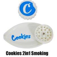쿠키 40mm 가게 깔때기와 깔때기 2 in 1 그라인더 잎 모양 플라스틱 vape 담배 허브 눈금 2in1 흡연 액세서리