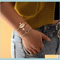 5 PCSSet Vintage Shell Tree Coeur Cuir Géométrique Bangle d'or Ensemble Femme Charme Bijoux Accessoires Beach Bracelets Drop Drop Livraison 2021
