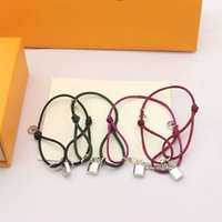 Factory Luxury Jewelry Europe America Fashion Style Men Lady Women Titanium steel Color Rope Bracelet With Engraved V Initials Silver Lock Charm