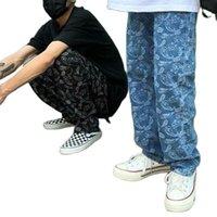 Мужские джинсы WFF Street Hip Hop Вышитые свободные прямые ретро и женские панк брюки мешковатые женщины
