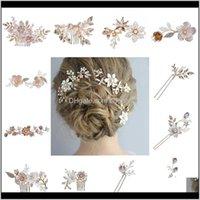 Инструменты Изделия для волос Drop Products Доставка 2021 Розовое Золото Свадебные Шпильки Горный Хрусталь Цветочные Женщины Ювелирные Изделия AESSORY Заявление Handmade Goodwear