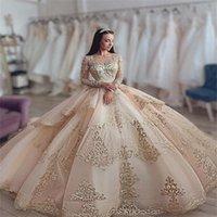 Luxury Champagne Quinceanera Dresses 2022 Koronki Appliqued Crystal z długim rękawem Ball Suknia Vestidos de Quinceañera Sweetheart Sweet 16 Dress