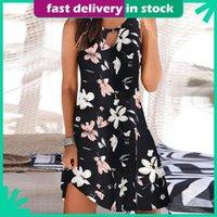 Casual Dresses Women Beach Dress Boho Floral Print Round Neck Sundress Sleeveless Loose Tank Plus Size Summer Vestidos