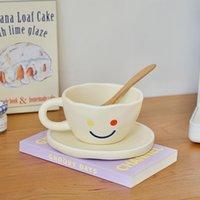 Colorido sorriso rosto fosco coarte cerâmica copo de café bonito dos desenhos animados leite leite