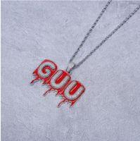 A-Z-benutzerdefinierte Name Roter Öl-Zerkleinerungsbuchstabe Anhänger Halskette Hip Hop Schmuck Gold Silber mit freier 24-Zoll-Seilkette
