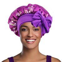 Beanie Skull Caps Printed Silk Satin Hair Cap For Sleeping High Stretch Wide Brim Night Hat Ribbon Round Turban Shower Bonnet Care Baotou