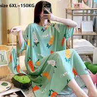 Large Size 6xl 150kg Womens Sleepwears Long Night Dress Short Sleeve O Neck Cartoon Printed Sleepwear Casual Oversized Summer Home