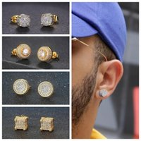 Mens Hip Hop Stud Earrings Jewelry New Fashion Gold Silver Simulated CZ A variety of Styles Diamond Earring