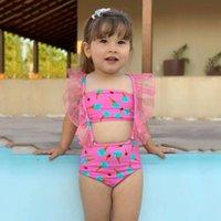 One-Pieces Kids Baby Girls Bikinis Set Toddler Vest Lace Ice Cream Print Detachable Swimsuit Sleeveless Sling Beachwear #P3