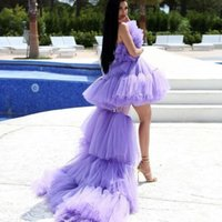 Two Pieces Puffy A Line Short Tulle Prom Dresses With Detachable Train 2022 Lavender Tiered Long Ruffle Cocktail Party Gowns Women Strapless Red Carpet Dress Runway
