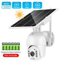 4G SIM CARTÃO / WIFI 1080P Solar IP Security Surveillance PTZ Dome P2P Ao Ar Livre 4x Ai Pir Detect Monitor Monitor Câmera