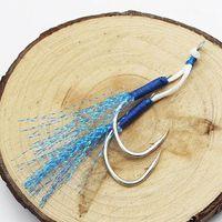 السنانير الصيد 10pair مساعدة هوك الدائري الجدار القفز fishjig مزدوجة ريشة الزوج الشائكة الأزرق تهزهز pesca peche o6m3