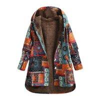 Ethnic Printed Cardigan Coats Women's Jackets Hooded Down Warm Windbreaker Coat Casual Long Sleeve Open Stich Overcoats #1027