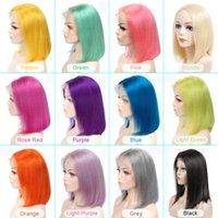 2021BOB кружевные фронтские парики короткие человеческие волосы парики волос 613 медовая блондинка розовый фиолетовый зеленый бордовый желтый цветные волосы волосы парики волос Remiactory Direct