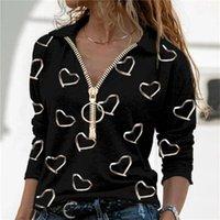 Women's T-Shirt V-Neck Pullover Tops Elegant Heart Print Zipper Women Autumn Casual Long Sleeve Top Lady Shirt Street Plus-Size Tees